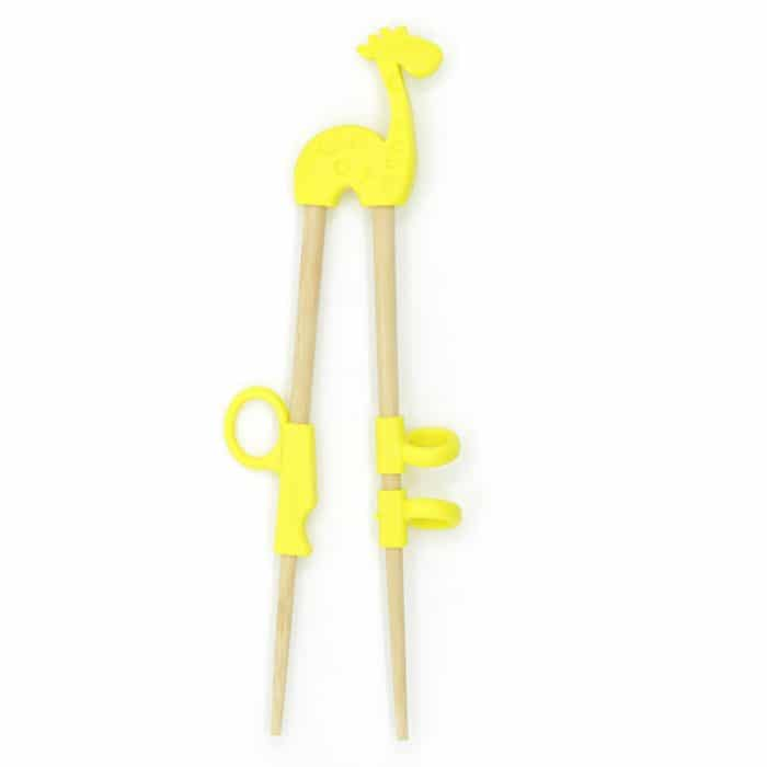 silicone-kids-yellow-giraffe-training-chopsticks-w-wooden-chopsticks-1