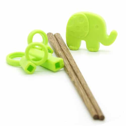 silicone-kids-green-elephant-training-chopsticks-w-wooden-chopsticks-2